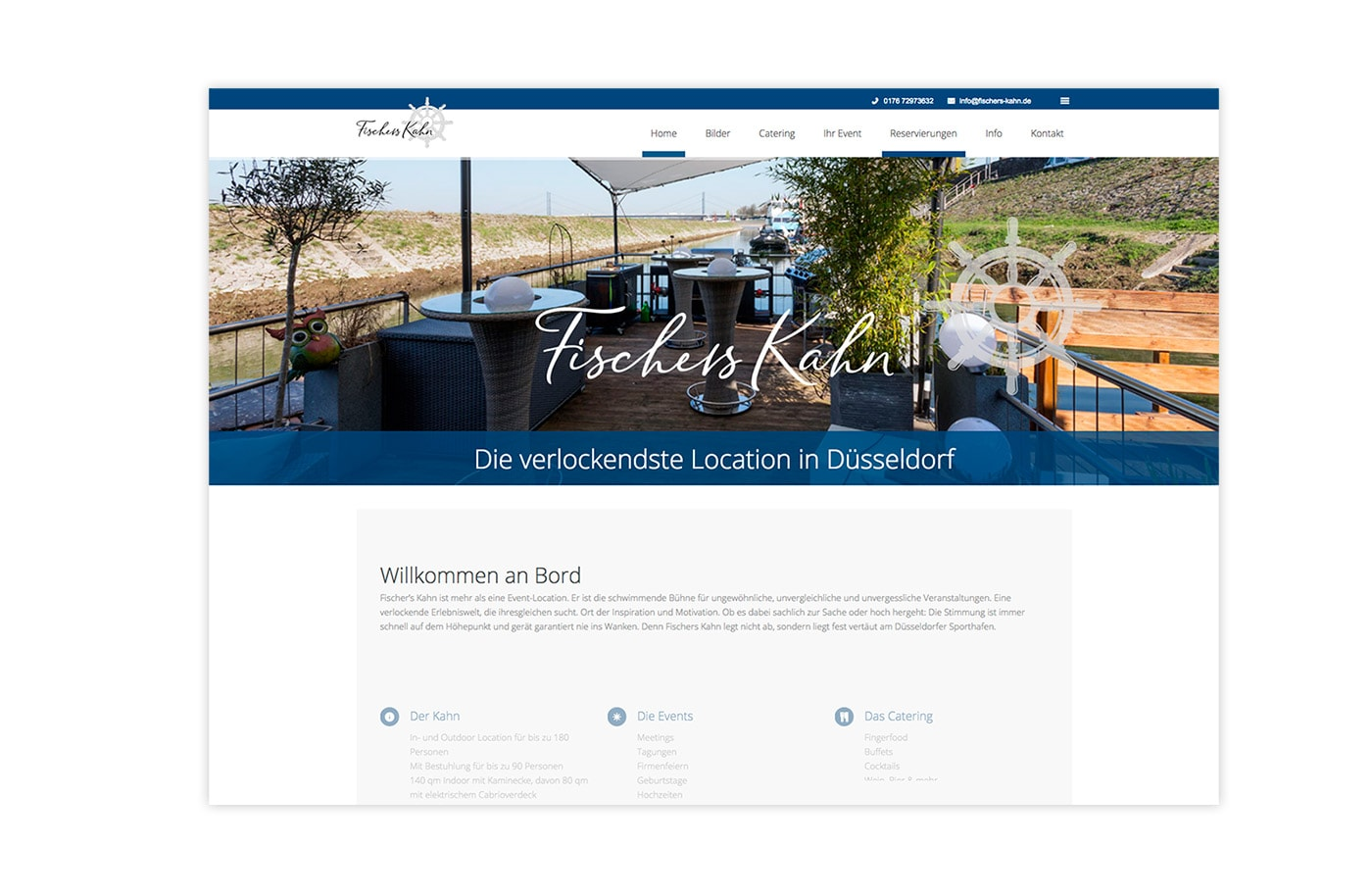 Website - Eventschiff Fischer´s Kahn - Düsseldorf